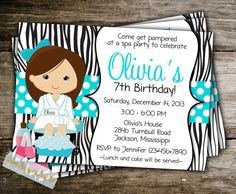 Spa Invitation Zebra Turquoise Party Makeup by 2SweetTeas on Etsy, $16.00