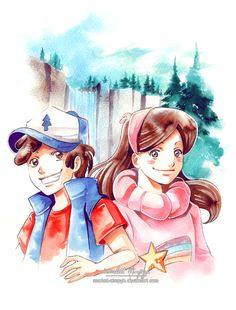 =>watercolors / inks / pencils / white paint The last pciture I will post during 2016 Yeah, you certainly didn't see this one coming, right ? Dipper and Mabel from Gravity Falls in my style. Wei...