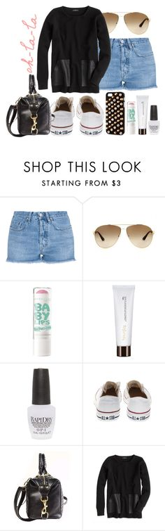 """""""my life is a little too much panic and not enough disco"""" by dancingincombatboots ❤ liked on Polyvore featuring M.i.h Jeans, Prada, Hourglass Cosmetics, OPI, Converse, J.Crew and LOVA"""