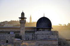 Dawn over the Al-Aqsa Masjid, al Quds, Palestine Palestine Art, World M, Islamic Paintings, Beautiful Mosques, Islamic Architecture, Art Moderne, Holy Land, Islamic Art, Taj Mahal