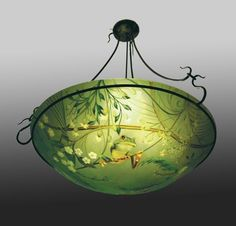 Picture of Tree Frogs Reverse Hand-Painted Glass Chandelier
