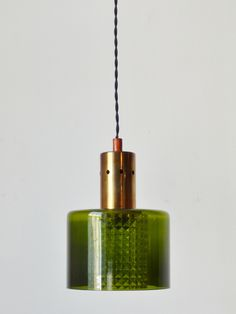 4e3ab6013ad9 1960s green glass and brass pendant light Brass Pendant Light