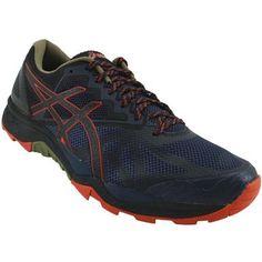 Asics Gel Fuji Trabuco Trail Running Shoes - Mens Insignia Blue Black Red Clay