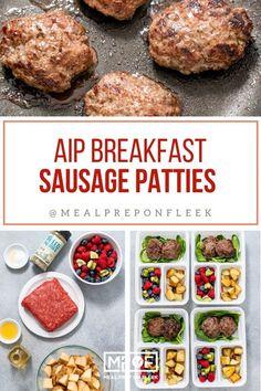 AIP Breakfast Sausage - Meal Prep on Fleek™ Paleo Meal Prep, Lunch Meal Prep, Meal Prep Bowls, Keto Meal, Sausage Breakfast, Breakfast Recipes, Breakfast Potatoes, Breakfast Ideas, Gluten Free Recipes For Dinner