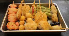 A variety of Kushikatsu skewers  http://ourtastytravels.com/blog/street-food-eats-kushikatsu-japan/ #japan #food #travel #ourtastytravels