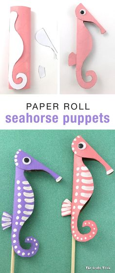 Paper roll seahorse puppets - Crafts Are Fun Seahorse Crafts, Ocean Crafts, Cardboard Tube Crafts, Toilet Paper Roll Crafts, Crafts To Make, Fun Crafts, Arts And Crafts, Diy For Kids, Crafts For Kids