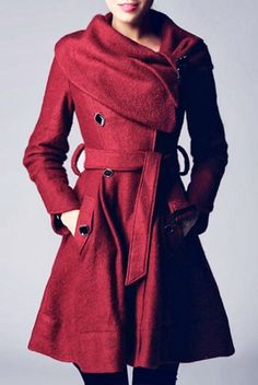 Gorgeous warm maroon coat for fall with belt