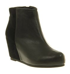 Office DOUBLE TROUBLE BLACK LEATHER SUEDE Shoes - Womens Ankle Boots Shoes - Office Shoes