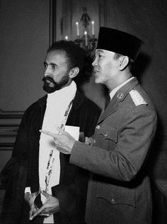 Indonesian president Soekarno with Emperor of Ethiopia Haile Selassie