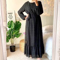 Boho Long Sleeve Pompom Maxi Dress_2 Lovely Dresses, Stylish Dresses, Dress Outfits, Fashion Dresses, Muslim Dress, Brown Dress, Muslim Fashion, Kaftan, Dinner Parties