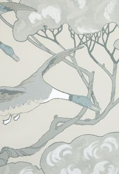Flying Ducks Wallpaper A striking wallpaper in Taupe with painted duck design in Aqua grey and Teal blue with silver embellishment.