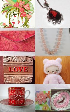 Valentine Pinks And Reds=Love by Patti Turon on Etsy--Pinned with TreasuryPin.com