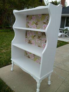 Retro Bookshelf Redo With Fabric