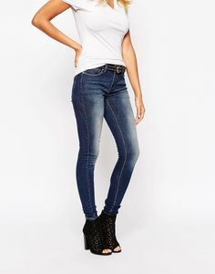 Grain Denim Mid Rise Dirt Wash Slim Jeans