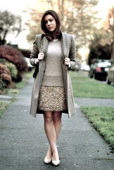 sequin skirt + sweater.