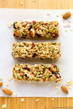 No-bake, Healthy Fruit & Nut Granola Bars made with just 6 ingredients. Chewy, so simple to make, and just as delicious as they are nutritious!