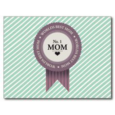 WORLDS BEST MOM BADGE PURPLE POST CARDS Mother's Day Greeting Cards, Shopping World, Best Mom, Postcard Size, Mothers, Badge, Create Your Own, Purple, Prints