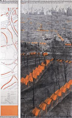 """The Gates"" (Project for Central Park, NYC) Jean Claude & Christo. This makes me think of all those Japanese samurai movies I saw (double features) at the THALIA on W. for several years. That ""shock"" of color against a bleak land. Christo Et Jeanne Claude, Vivre A New York, Installation Art, Art Installations, Park Art, Environmental Art, Outdoor Art, Metal Sculptures, Bronze Sculpture"