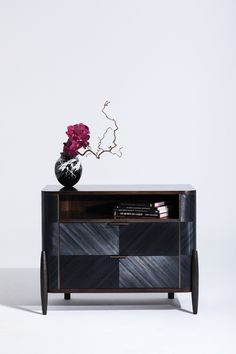 Tijuca Nightstand in ebony straw marquetry, bronze and anigre veneer Furniture Showroom, Cabinet Furniture, Table Furniture, Luxury Furniture, Bedroom Furniture, Furniture Design, Twin Size Bed Sheets, Accent Chests And Cabinets, American Interior