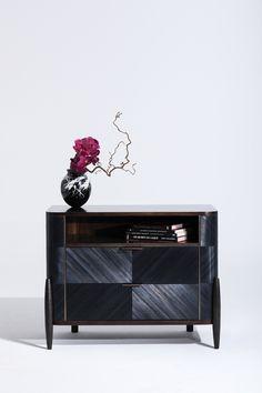 Tijuca Nightstand in ebony straw marquetry, bronze and anigre veneer