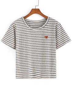 Striped Bear Patch T-shirt -SheIn(Sheinside)