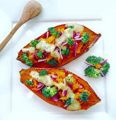 découvre une jolie recette colorée et délicieuse de patate douce bio rôtie au four et sa sauce crémeuse pour votre bento