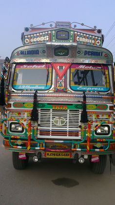 Colourful lorries in India