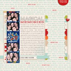 Magical Memories; Disney scrapbook page layout idea. Super fun idea and great journaling!