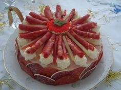 This is amazing appetizer cake,like a big sandwich has butter cheese salami,ham