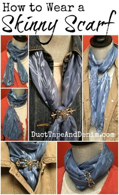 to Wear a Skinny Scarf How to wear a skinny scarf. Fun ways to tie long, thin scarves. More ideas on How to wear a skinny scarf. Fun ways to tie long, thin scarves. More ideas on Ways To Tie Scarves, Ways To Wear A Scarf, How To Wear Scarves, Scarf Knots, Diy Scarf, Scarf Ideas, Look Fashion, Womens Fashion, Fashion Tips
