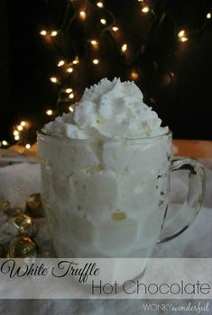 White Truffle Hot Chocolate - WonkyWonderful.com #drink #recipe