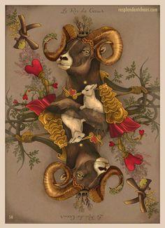 """AstroBotanical Playing Cards king of hearts"" by 14 Fourteen Tarot Card Decks, Tarot Cards, Custom Playing Cards, Vintage Playing Cards, 1 Tattoo, King Of Hearts, Oracle Cards, Heart Art, Deck Of Cards"
