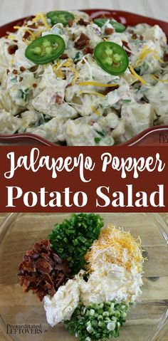 This is the best Jalapeño Popper Potato Salad! This potato salad is made with potatoes, diced jalapeno peppers, cream cheese, shredded cheese, and bacon. It's a delicious twist on traditional potato salad recipes. Delicious and easy make-ahead Salad Recipes With Bacon, Chicken Salad Recipes, Bacon Recipes, Potato Recipes, Cooking Recipes, Recipes With Bacon And Jalapeno, Potato Salad With Bacon, Recipes With Jalapenos, Bacon Dip