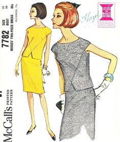 McCall's Pattern 7782 Vintage 60's Two-Piece Dress with V Shaped Seaming! Size 16 Bust 36