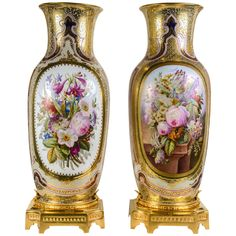 Pair of Gorgeous Vases in Porcelain of Bayeux