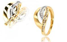 Zlatý dámsky prsteň s 27 Swarovski kryštálmi zo 14