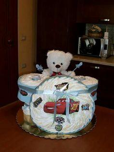 Torta di pannolini diapers cake batteria