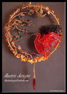 Scarlet Ibis bird Suncatcher van illustrisdesigns op Etsy