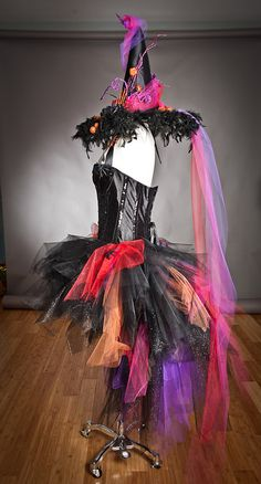 Size Large Orange hot pink red and Black Feather by Glamtastik, $475.00