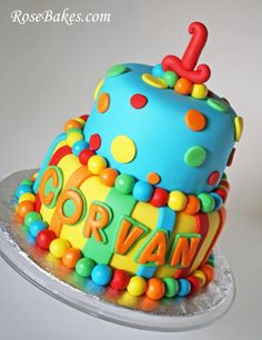 rainbow polka dot baby shower | ... baby shower cake in the same file as the Rainbow Messy Ruffles Cake