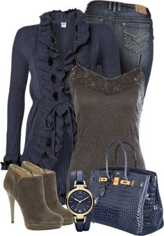 Blue Cardigan by denise-schmeltzer on Polyvore fahionista-baby