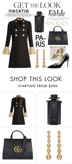 """Get the Look"" by conch-lady ❤ liked on Polyvore featuring Gucci, BCBGMAXAZRIA, GetTheLook, maryjaneshoes, necktiedress and fallpetfumes"