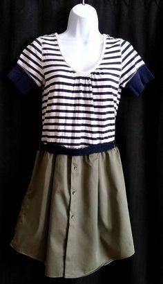 Upcycled T-shirt Dress, Sage and Navy, Nautical Dress, Size Med-Large