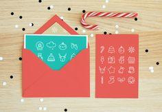 Vector Christmas flat minimalistic line icon set