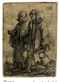 1531 - 50 Sebald Beham - The Wedding Procession -  A couple walking to l; the female figure at l wearing a bonnet and holding a rosary, the male figure at r holding an axe; from a series of eight engravings.