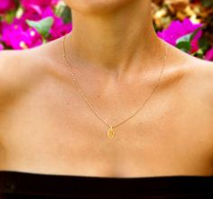 Gold leaf necklace Gold necklace 14k gold filled chain by AAprill