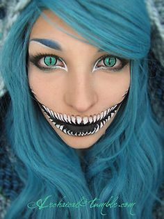 33 Totally Creepy Makeup Looks To Try This Halloween: Cosplay Chesire cat. Costume Halloween, Scary Halloween, Halloween Party, Halloween Ideas, Happy Halloween, Halloween Clothes, Halloween Stuff, Halloween Painting, Halloween 2015
