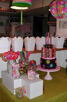 Candy party cake table by queene of tartes, via Flickr