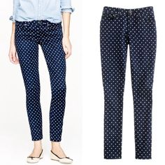 "J. Crew Polka Dot Toothpick Jeans Excellent condition. 98% Cotton, 2% spandex. Sits lower on hips with a skinny cropped leg. Size 27 measurements: 15.5"" waist, 29"" inseam. Size 29 measurements: 16"" waist, 38.5"" length, 30"" inseam. ❌NO TRADES OR PAYPAL❌ J. Crew Jeans Ankle & Cropped"