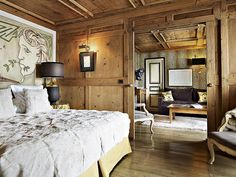Long the biggest name in Megève hotels, the Hôtel Mont-Blanc has done a bit of sprucing up. In the 1950s it made an appearance in the film Les Liaisons Dangereuses, in the 1960s it was sophisticated enough for Jean Cocteau, and in its new incarnation it'll continue to be a second home for many a skiing Parisian. Hotel Corridor, Chalet Design, Hotel Safe, Hotel Architecture, Lodge Style, Hotel Interiors, Amai, Interior Decorating, Chalets